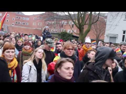Demonstrating against Uganda Anti-Homosexuality Act at the Embassy of Uganda in Hellerup, Denmark