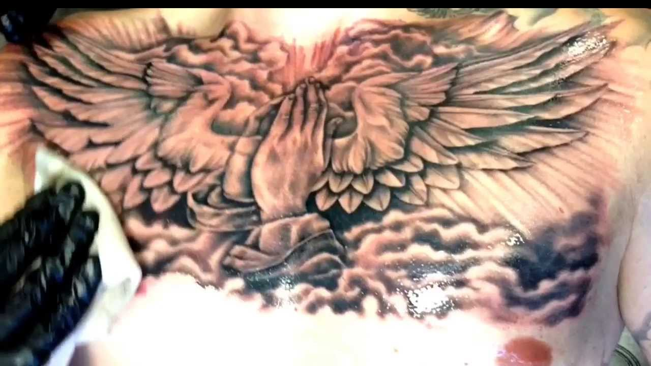 The gallery for cloud tattoos on chest for Chest mural tattoos
