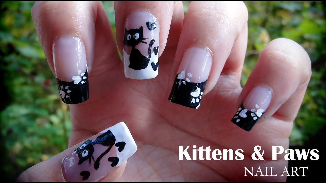 Kittens & Paws nail art - YouTube