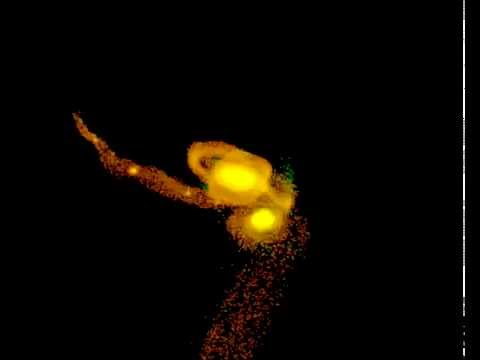 Galaxy merger forming tidal dwarf galaxies