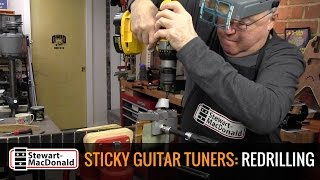 Watch the Trade Secrets Video, Sticky guitar tuners: redrilling the peg holes
