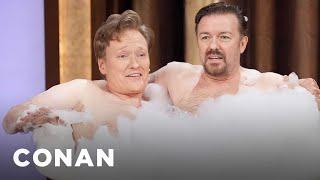 Ricky Gervais & Conan O'Brien Take A Bubble Bath Twitpic - CONAN on TBS