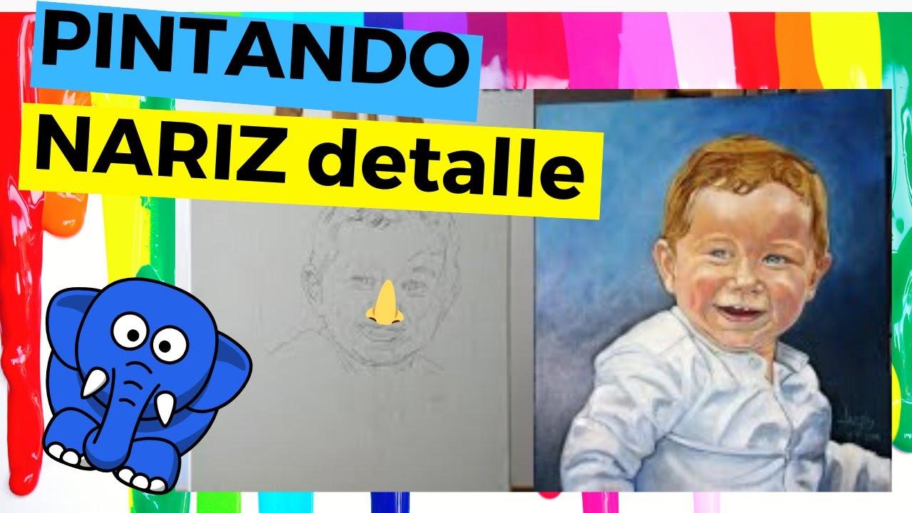 Pintando nariz del retrato de ni o con pintura al leo - Retratos de ninos al oleo ...