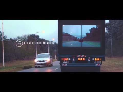 شاشة على الباب الخلفي للشاحنات لتجاوز آمن
