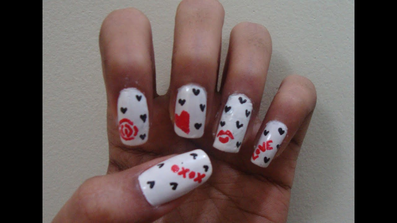 day nails Simple and Easy nail art using a toothpick - YouTube