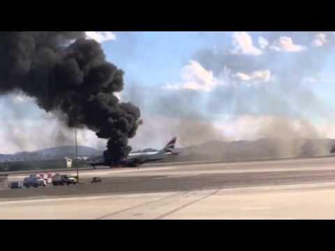 """إشتعال النيران في طائرة بـ """"لاس فيغاس"""""""