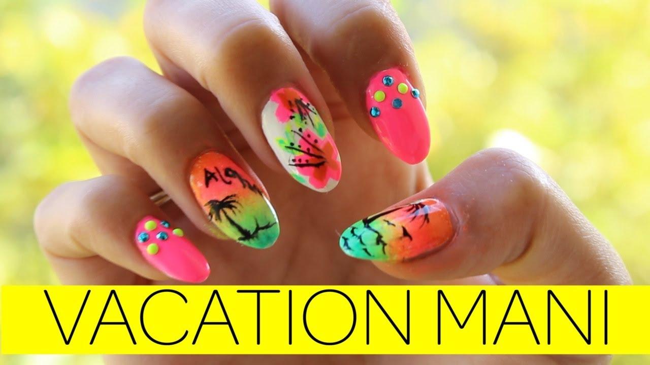 Hawaiian Themed Nail Designs