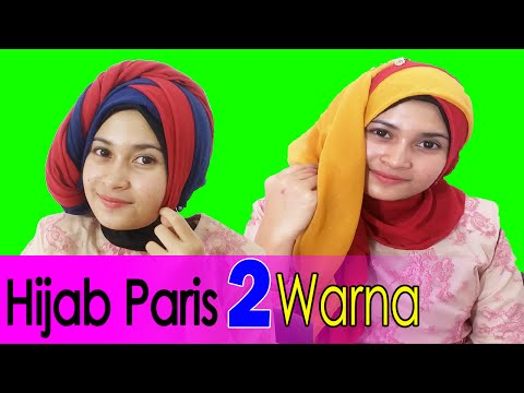 2 Cara Memakai Jilbab Paris Segi Empat Dua Warna by #AWMCollection