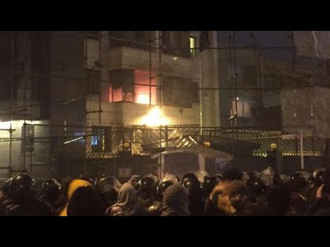 حرق سفارة السعودية بإيران