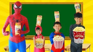 Spiderman Learn color with POPCORN w/ Superman tripped Frozen Elsa Paint Broom Heroes School Color