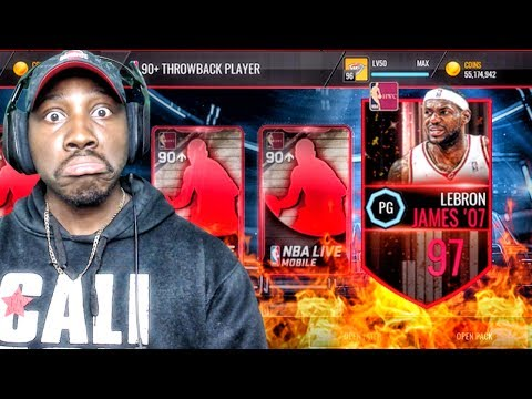 THROWBACK PACK OPENING & 97 OVR LEBRON JAMES! NBA Live Mobile 16 Gameplay Ep. 118