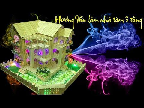Hướng dẫn làm nhà tăm tre 3 tầng đẹp từ nhatamtredep.com