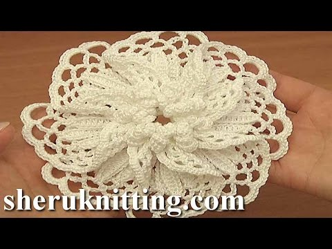 Crocheted Large Petal Flower Tutorial 101 Demo Version