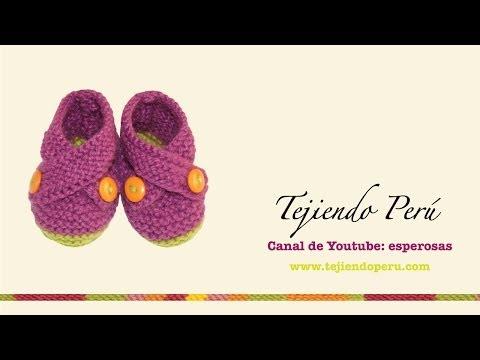 Zapatitos cruzados tejidos en dos agujas para bebes (Parte 2)