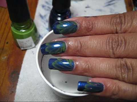 "Blue & Green ""Seaweed"" Water Marble Nail Art Tutorial - YouTube, More pics here: http://mysimplelittlepleasures.blogspot.com/2010/04/notd-seaweed-water-marble-tutorial.html Tips & Tricks Playlist (taping tutorial, how to c..."