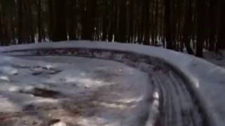 My dad's crazy ice slide in the woods
