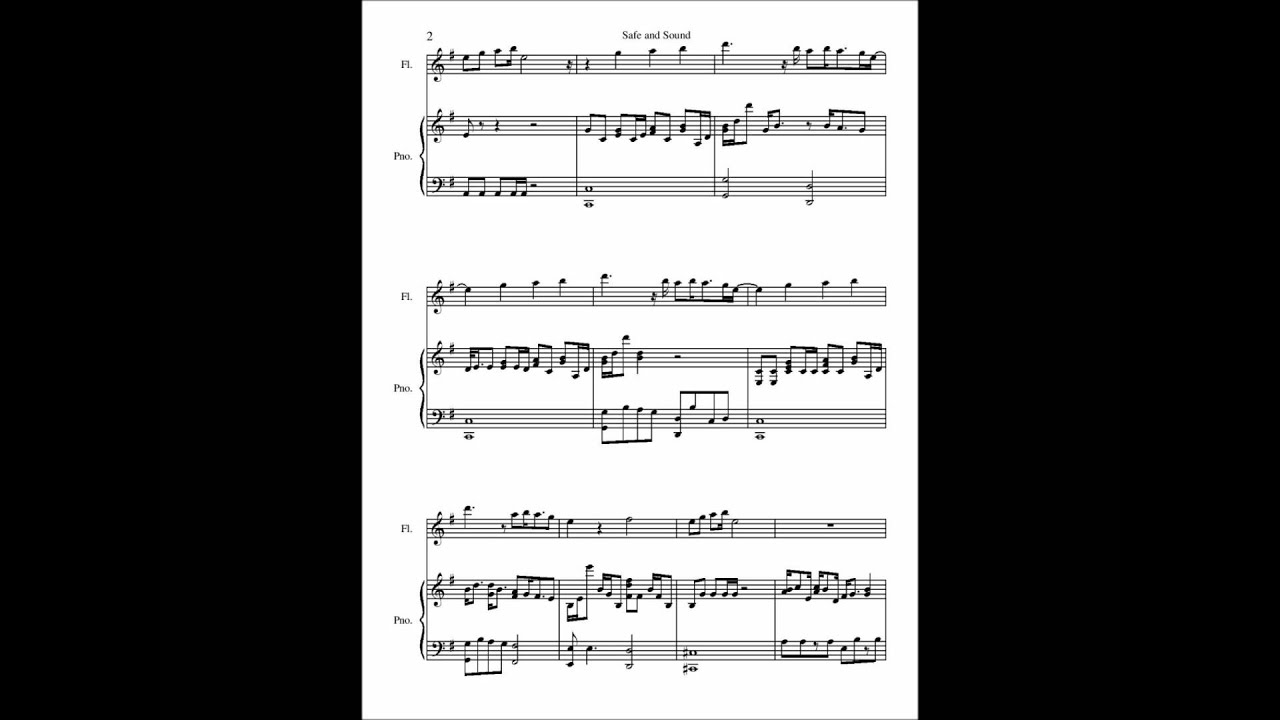 Safe And Sound Piano Sheet Music Safe And Sound Piano Letter