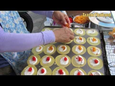 Thai Street Food - Sweet Cream Crepe - Kanom Beuang - ขนมเบื้อง