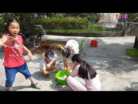 Outdoor playground Blowing colored bubbles Funny videos for children