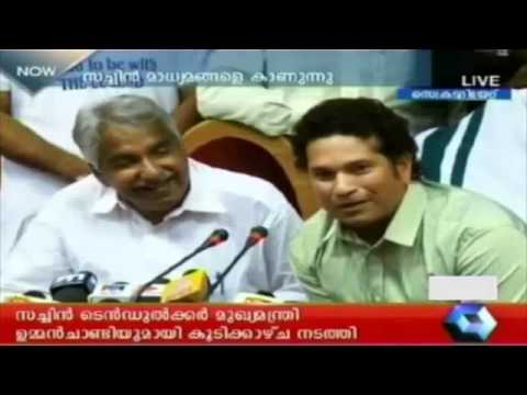Sachin Tendulkar and Oommen Chandy - Press meet