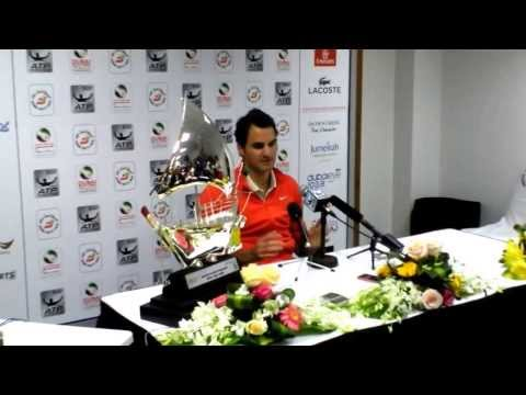 Roger Federer winning press conference at the 2014 Dubai Duty Free Tennis Championships