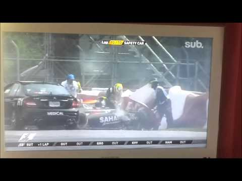 Formula 1 Kanada 8.6.2014 Felipe Massa and Sergio Perez car crash