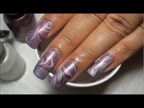 Purple & White Water Marble Nail Art Tutorial (Water Marble March #4), Blog post can be seen here: http://mysimplelittlepleasures.blogspot.com/2012/08/notd-purple-white-water-marble-tutorial.html Nail polish used: Orly - Fantase...