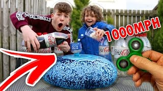 1000+ MPH FIDGET SPINNER Vs Diet Coke and Mentos WUBBLE BUBBLE!!! *CRAZY* FIDGET SPINNER TRICKS!!! 😱
