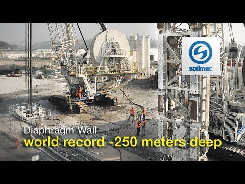 Soilmec Hydromill Technology Diaphragm Wall - world record -250 meter deep