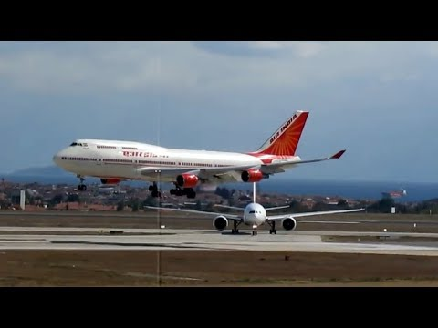 Air India Boeing 747 landing & Turkish Airlines Airbus A319 take off Istanbul Ataturk Airport