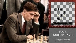 """Bobby Fischer's amazing Four Queens Chess Game against """"Iron Tiger"""" Tigran Petrosian! 1959"""