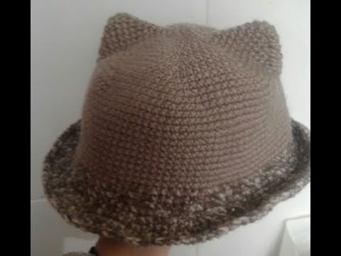 gorro a crochet con orejitas en todas las tallas