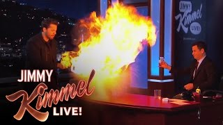 David Blaine Drinks Water then Lighter Fluid, Spits Fire then Water to Put Out Fire