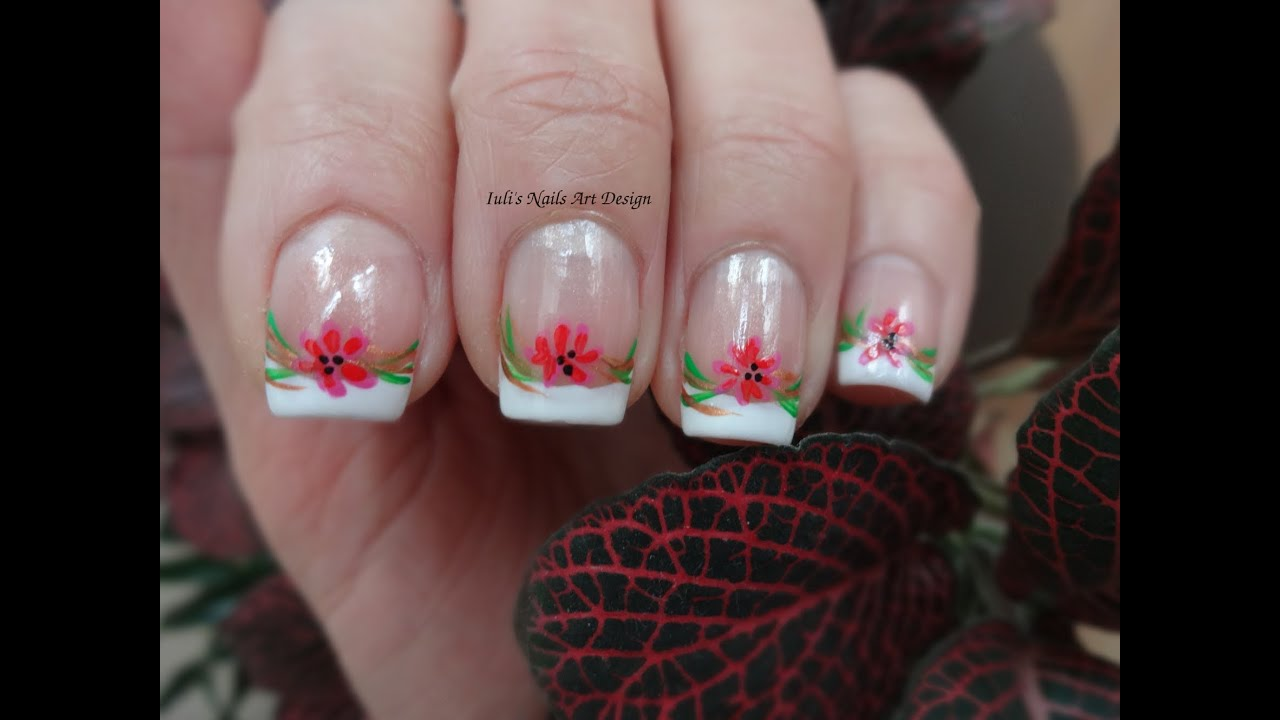 Nail Art Design Classic French Manicure Tutorial Spring Wild Flowers