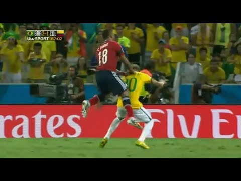 Neymar Injury ~ Broken Back vs Colombia ~ Out for rest of World Cup 2014