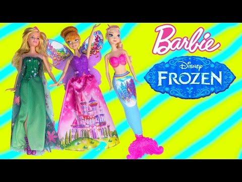 Queen Elsa Barbie Fairytale Dress Up Doll Playset Mermaid Fairy Princess Anna Frozen Fever Unboxing