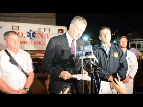 Mayor Bill de Blasio gives Press Conference on fallen Firefighter, Lt. Gordon Matthew Ambelas