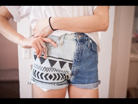 DIY bleached aztec denim shorts