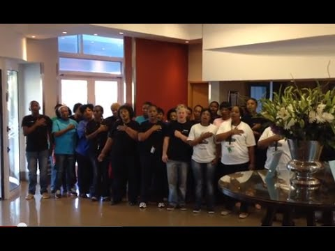 Staff at Nelson Mandela Bay SA Sevens team hotel's tribute to Madiba