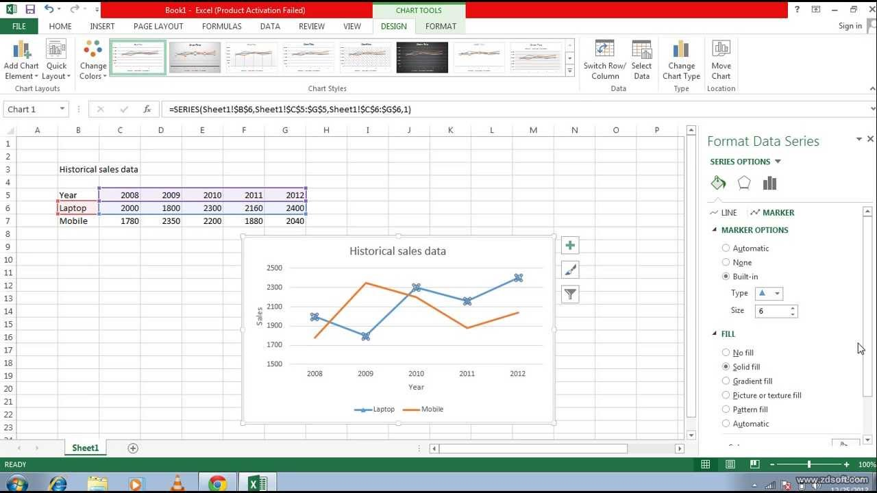 excel 2013 how to bring line graph to 0