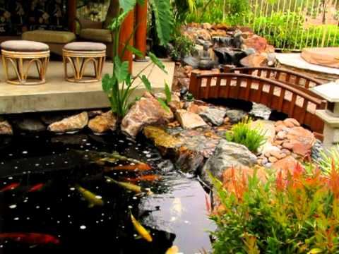 Traditional japanese koi pond and stream landscape by san for Japanese koi pond