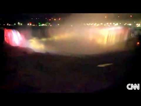Unbelievable frozen Niagara Falls by night