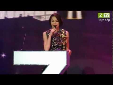 Hồ Ngọc Hà nhận giải 'MV có hình ảnh đẹp nhất' ZMA 2012