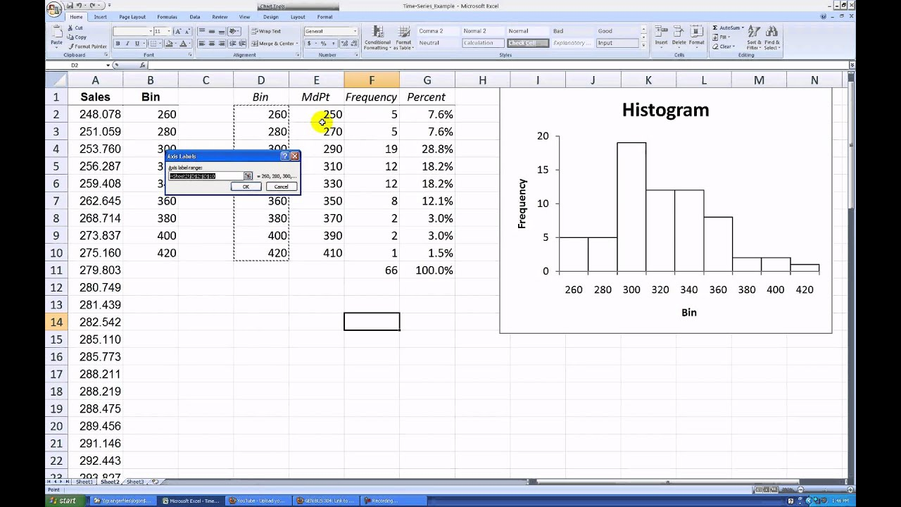 how to make a percent histogram in excel 2007