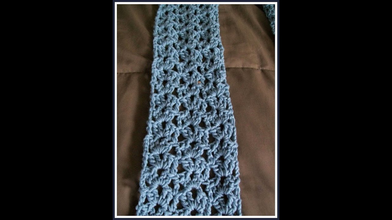 Youtube Crocheting Scarves : Easy Crochet Lacy Shell Scarf Pattern - YouTube