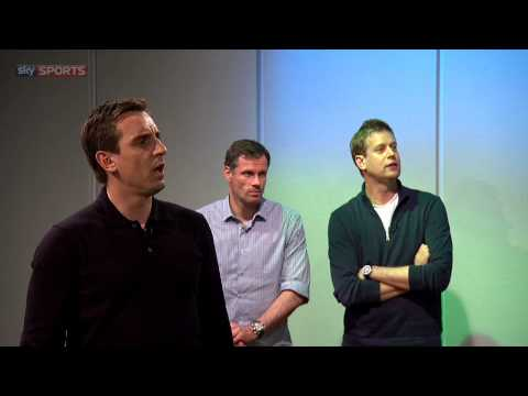Gary Neville and Jamie Carragher show off their golf skills