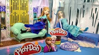 FROZEN PLAY-DOH Tutorial Using Lights With Anna And Elsa