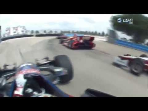 Aleshin and Rahal Contact @ 2014 Indy Car Houston Race 2