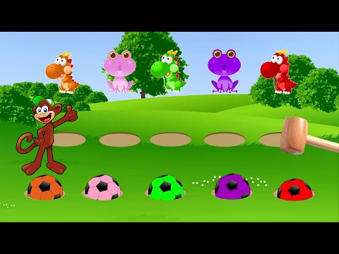 Learn colors with soccer ball running away from a funny hammer