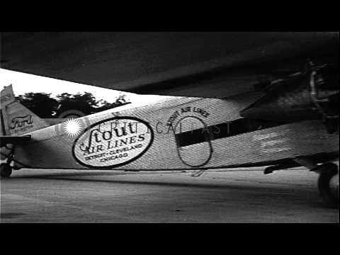 Passengers board a stout airlines Ford Tri-motor plane in United States HD Stock Footage